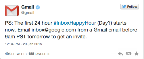 Google Inbox tweet