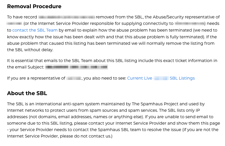 Spamhaus blocklist results page, continued.